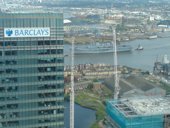 HMS Ark Royal passes Canary Wharf, 2007