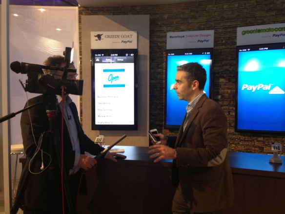 PayPal president David Marcus shows PayPal here to Sky TV