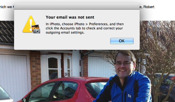 iPhoto won't email Photos any more