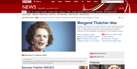 The passing of Margaret Thatcher