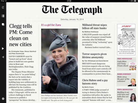 The Telegraph's iPad front page