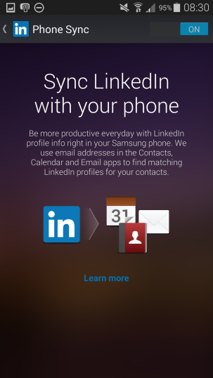 Switch off LinkedIn sync with Galaxy S5