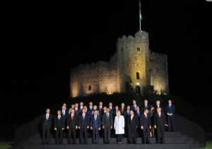 President Obama, David Cameron and other NATO leaders at Cardiff Castle.
