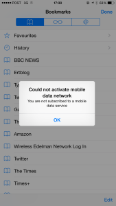 No surfing today: could not activate mobile data network