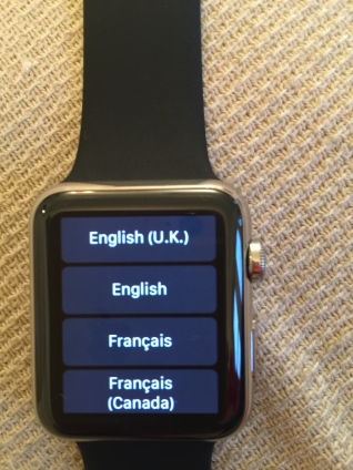 Apple Watch: choose your language