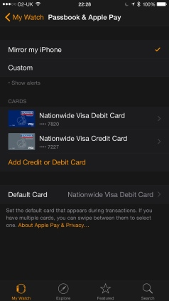 Adding cards to Apple Pay on the Watch