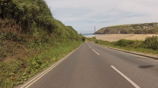 Racing down to Mawgan Porth